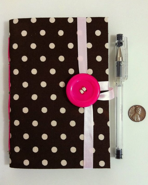 Girly Journal Diary Notebook, Small Lined journal, brown fabric with white polka-dots and pink button, personal journal, for writing