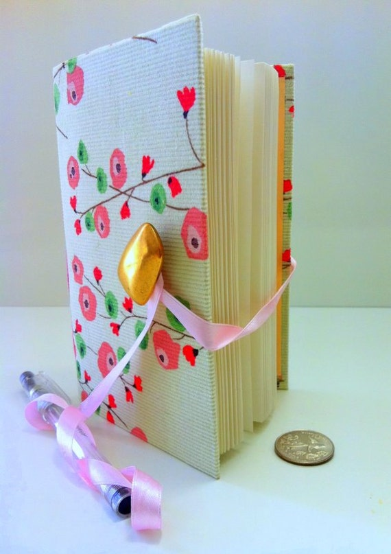Journal Notebook, journal diary, hand bound with lined paper, for writing. Green journal, Pink flowers, brass button, handmade books