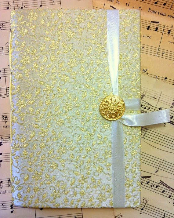 Writing Journal Notebook Diary with lined paper and sparkly gold white fabric, personal diary, travel journal, memories book, Bridal gift