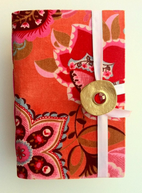 Journal Notebook for writing, Orange pink velvet Diary with lined paper, Opens with golden button and pink ribbon, personal memories book