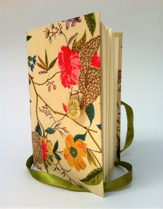 Colorful flowers Journal / Diary  Designed with warm colors, opens with gold lace button and green satin ribbon, personal writing journal