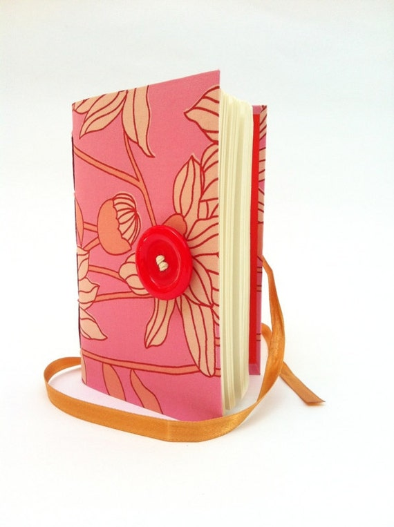 Pink Journal Notebook Diary, lined paper, floral fabric Opens with red button and golden ribbon,Small personal diary for girls