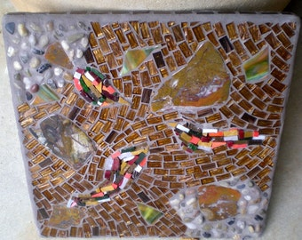 Agate Stained Glass Mosaic Wall Art - Entitled Earthy Layers
