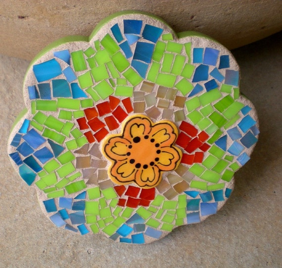 Flower shaped Green, Blue and Orange Mosaic Wall Hanging