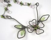 Dogwood Blossom Necklace-Prehnite,Rose Quartz,Pink Tourmaline,Peridot