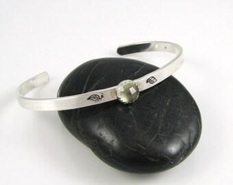 Green Leaf Cuff- Sterling silver,green amethyst hand stamped leaf cuff bracelet