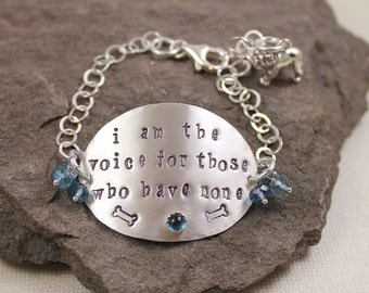 I Am The Voice For Those Who Have None- London Blue Topaz Hand Stamped Bracelet
