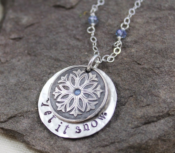 Let It Snow Necklace-  Fine Silver, Blue Topaz CZ,Hand Stamped Pendant