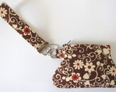 Brown and Cream Floral Key Fob and Curvy Coin Pouch Wristlet Set