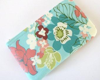 Teal Blue Flower Zipper Pouch