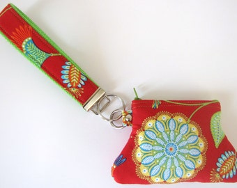 Red Floral Gypsy Paisley Bandana Key Fob and Curvy Coin Pouch Wristlet Set