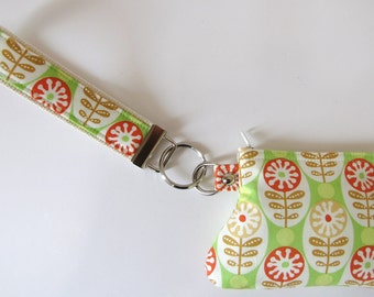 Lime Green Circles and Stems Key Fob and Curvy Coin Pouch Wristlet Set