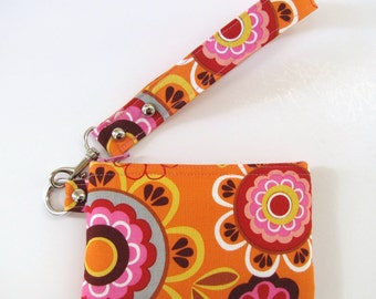 Orange Multi Floral Wristlet Zipper Pouch