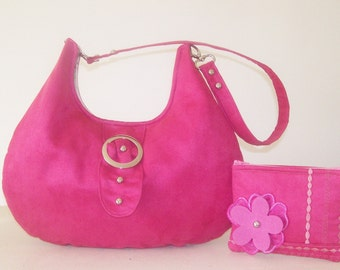 Fuchsia Pink Microsuede Hobo Bag and Zipper Pouch with Floral and stitch Detail