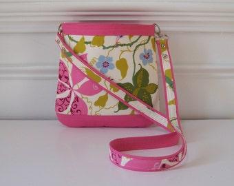 Pink Mixed Floral Two-Tone Long Strap Handbag