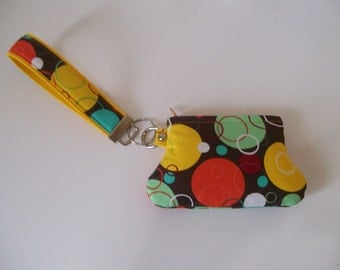 Circles and Bubbles Key Fob and Curvy Coin Pouch Wristlet Set