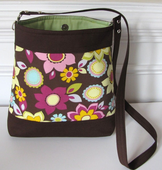 Brown Multi Floral Long Strap Crossbody Bag