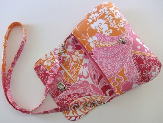 Long Strap Crossbody Bag in Pink Paisley