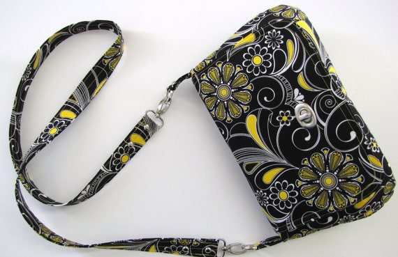 Black and Yellow Crossbody Long Strap Bag