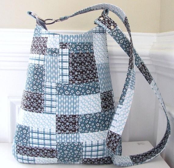 Crossbody Bag Long Strap Sling Bag in Blue Patchwork Design