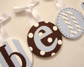 Round Handpainted Boy Nursery HANGING WALL LETTERS