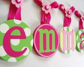 Boutique Handpainted Childrens Kids Baby Round Custom Hanging Wall Letters