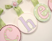 Kids Baby Nursery Round Hanging Wall Letters To Match Hayley Bedding