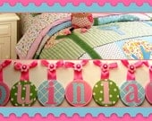 Childrens Kids Baby Girl  Round Hanging WALL LETTERS to match PBK Brooke bedding