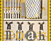 Kids Baby Nursery Hanging Wall Letters in Yellow and Grey