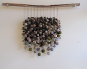 RESERVED for Beatrix - Natural dark color wool felt wall sculpture with walnut wood