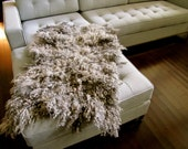 Natural gray wool curly shaggy felt pelt throw or rug