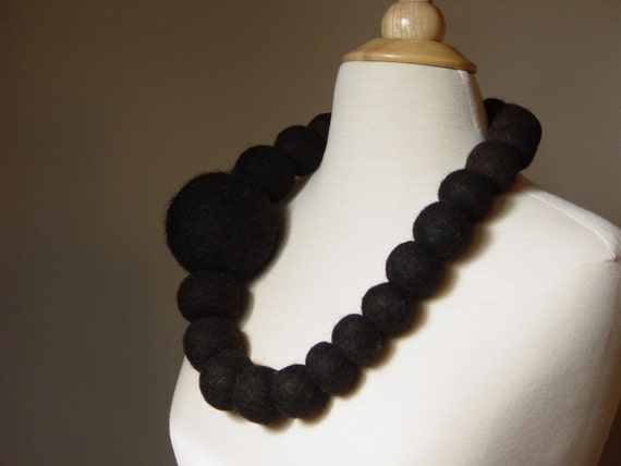 Extra large wool felt ball dark brown black nomad necklace