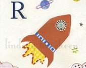 Alphabet Nursery Art Print Letter R as in Rocket