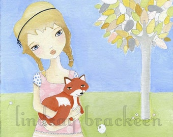Girl Fox Kids Nursery Art Print