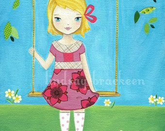 Spring Tree Swing Easter Girl Art Print