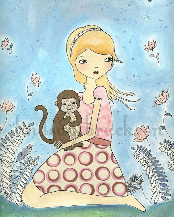 Monkey Nursery Kids Jungle Girl Art Print
