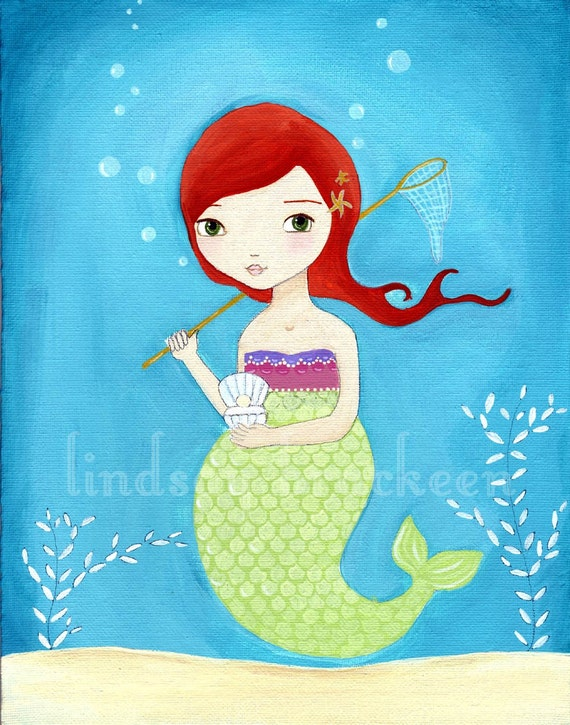 Mermaid Print Nautical Kids Art