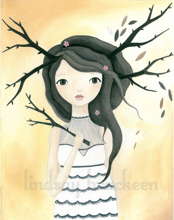 Cherry Blossom Tree Nature Bohemian Girl Art Print