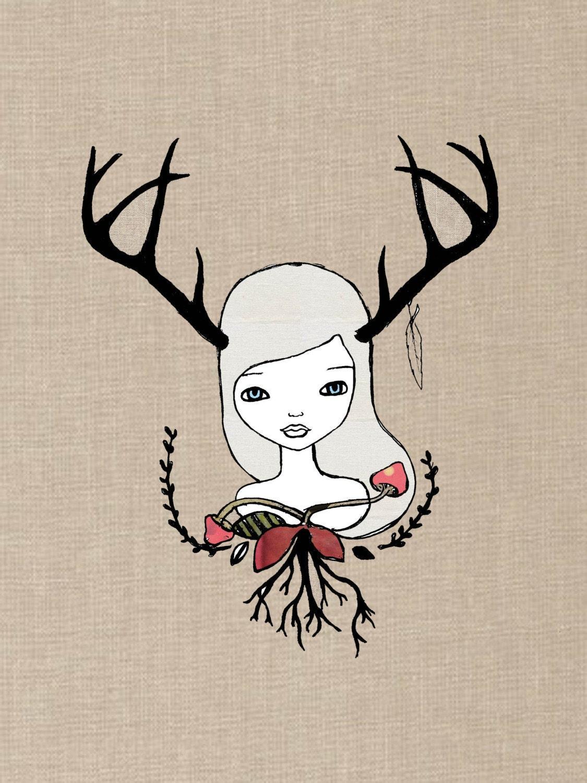 Deer Antler Nature Woodland Forest Girl Art Print