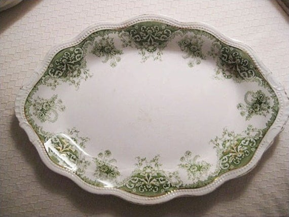 English Ironstone Platter with Green Florentine Pattern