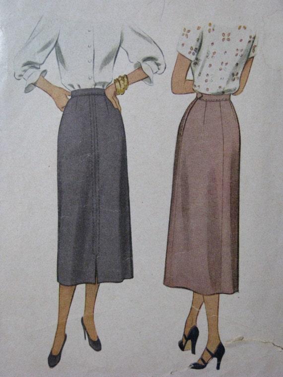 McCall 7243, late 1940s narrow A-line skirt