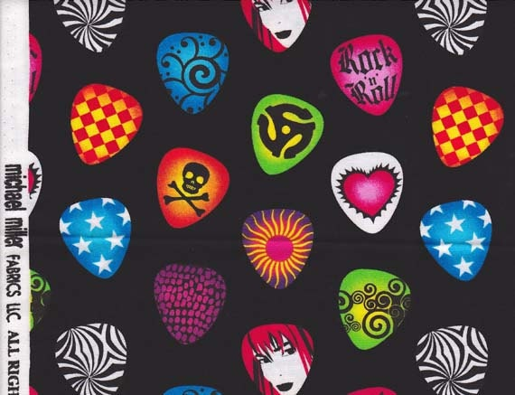 Michael Miller 1 Yard Rock & Roll Guitar Picks Fabric Black Multi Color