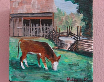 4 inch square Acrylic Cow Painting