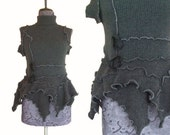 Asymmetric Cashmere Sweater Layering Top Vest S/M Charcoal Gray Black Recycled Eco Friendly Womens Clothing Flower Floral handmade