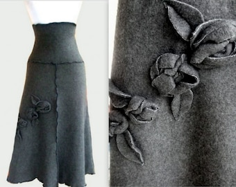 Sweater Fleece Skirt with Rosette Decor