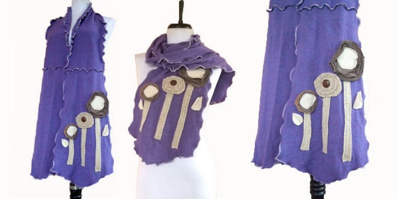 Merino Wool Floral Scarf Recycled Sweater Eco Friendly Fashion