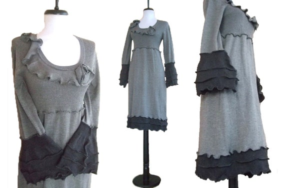 Sale Wide Cuff Sweater Dress S/M Small Medium Ruffled Floral Flowers Babydoll Recycled Eco Friendly Gray