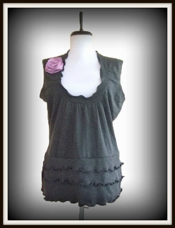Floral Blouse Layering Top Ruffled Sweater Large L Recycled Eco Friendly Charcoal Gray Lavender Vest Flower