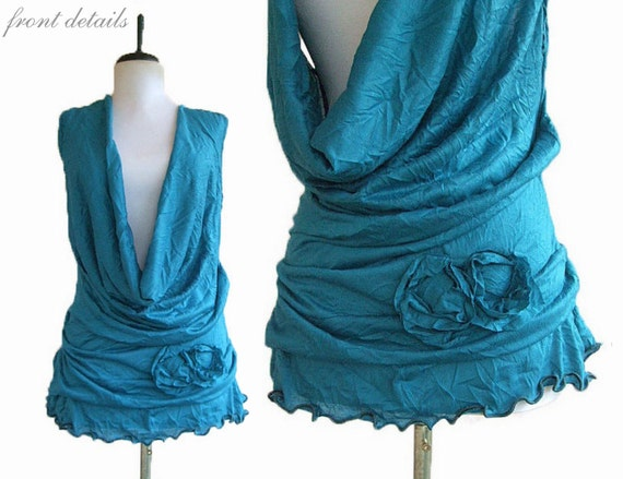 Gathered Floral Top M Medium Plunging Cowl Ruffled Wrinkled Crinkled Teal Womens Shirt Flower Handmade Womens Clothing