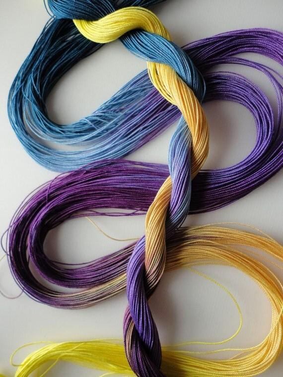 "Hand dyed tatting crochet thread size 40 ""Pansy"""